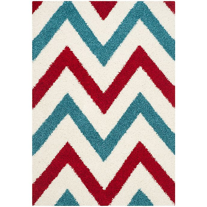 Alternate image 1 for Safavieh Kids® 3-Foot 3-Inch x 7-Foot 6-Inch Chevron Shag Area Rug in Ivory/Red