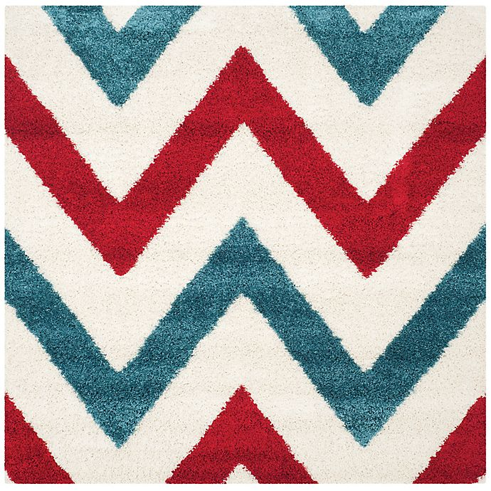 Alternate image 1 for Safavieh Kids® 7-Foot 6-Inch Square Chevron Shag Area Rug in Ivory/Red
