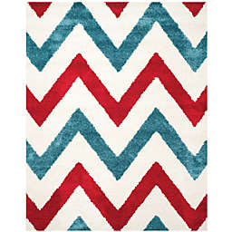 Safavieh Kids® 8-Foot 4-Inch x 12-Foot Chevron Shag Area Rug in Ivory/Red