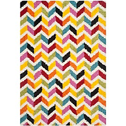 Safavieh Kids® Zigzag Shag Rug in Ivory/Multi
