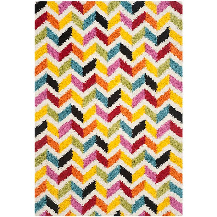 Alternate image 1 for Safavieh Kids® 3-Foot 3-Inch x 7-Foot 6-Inch Zigzag Shag Area Rug in Ivory/Multi