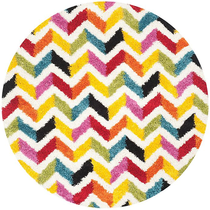 Alternate image 1 for Safavieh Kids® 7-Foot 6-Inch Round Zigzag Shag Area Rug in Ivory/Multi