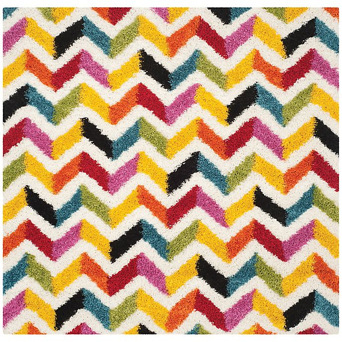 Alternate image 1 for Safavieh Kids® 7-Foot 6-Inch Square Zigzag Shag Area Rug in Ivory/Multi