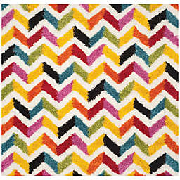 Safavieh Kids® 7-Foot 6-Inch Square Zigzag Shag Area Rug in Ivory/Multi