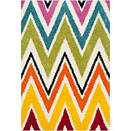 Safavieh Kids® Rainbow Zigzag Shag Rug in Ivory/Multi