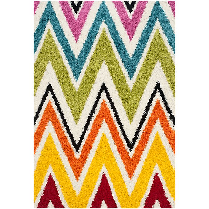 Alternate image 1 for Safavieh Kids® Rainbow Zigzag 5-Foot 3-Inch x 7-Foot 6-Inch Shag Area Rug in Ivory/Multi