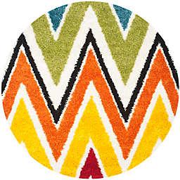 Safavieh Kids® Rainbow Zigzag 6-Foot 7-Inch Round Shag Area Rug in Ivory/Multi