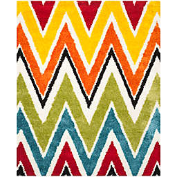 Safavieh Kids® Rainbow Zigzag 8-Foot 6-Inch x 12-Foot Shag Area Rug in Ivory/Multi
