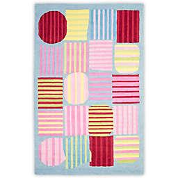 Safavieh Kids® Striped Shapes Rug in Blue/Multi