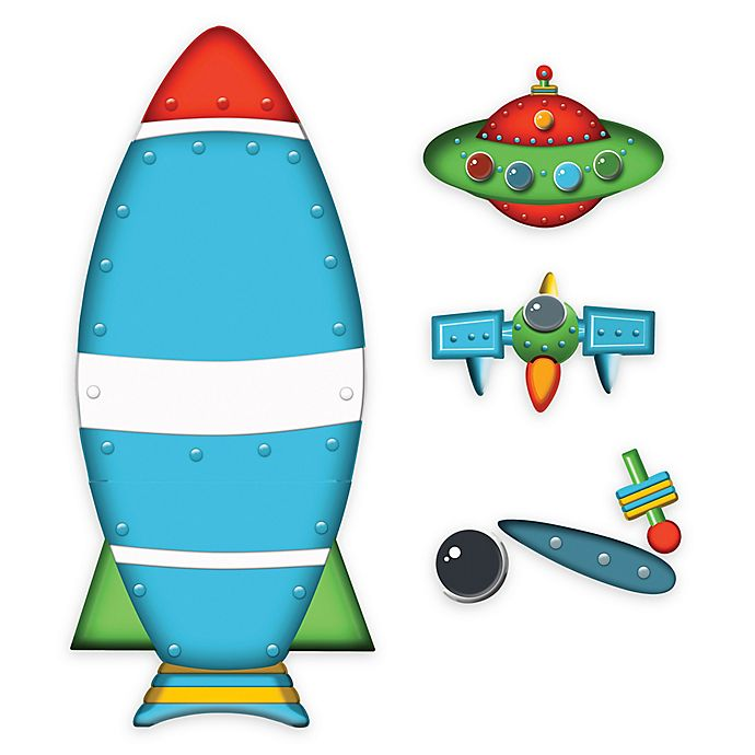 Alternate image 1 for Wallies Rocket Ship Peel & Stick Wall Decals