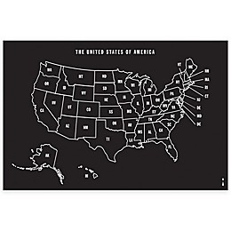 Wallies U.S. Map Chalkboard Peel & Stick Wall Decal and Chalk Set