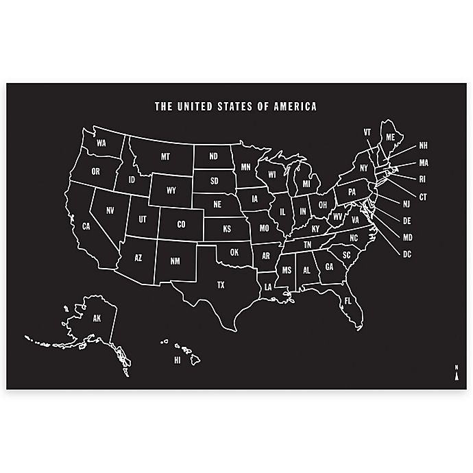Alternate image 1 for Wallies U.S. Map Chalkboard Peel & Stick Wall Decal and Chalk Set