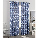 Newport Medallion 84-Inch Grommet Window Curtain Panel in Blue