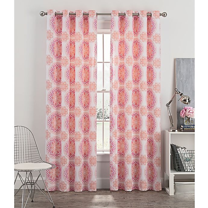 Alternate image 1 for Newport Medallion 54-Inch Grommet Window Curtain Panel in Blush