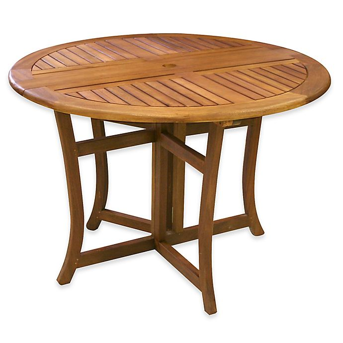 Alternate image 1 for Outdoor Interiors® Eucalyptus Outdoor Round Folding Table in Brown Umber