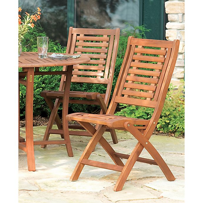 Alternate image 1 for Outdoor Interiors® Eucalyptus Outdoor Folding Side Chairs in Brown Umber (Set of 2)