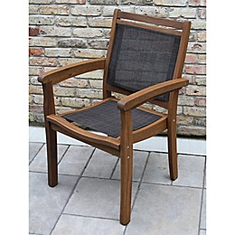 Outdoor Interiors® Eucalyptus and Sling Outdoor Stackable Arm Chair in Brown Umber