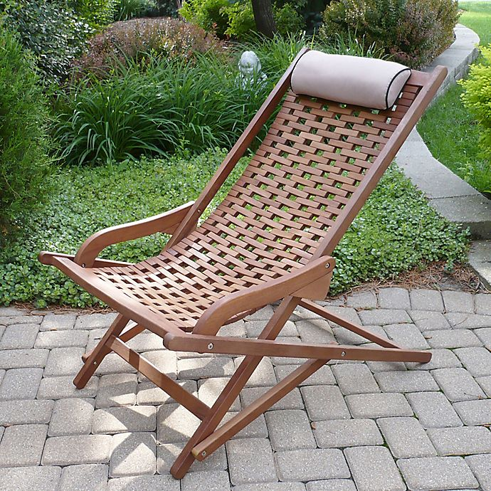 Alternate image 1 for Outdoor Interiors® Eucalyptus Outdoor Swing Lounger in Brown Umber
