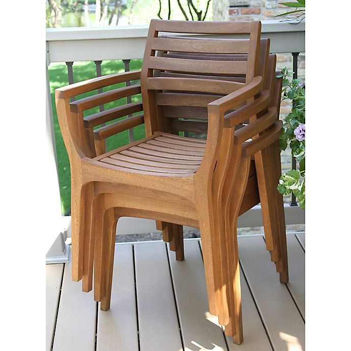 Alternate image 1 for Outdoor Interiors® Eucalyptus Danish Stacking Chairs in Brown Umber (Set of 4)