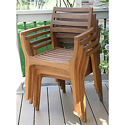 Outdoor Interiors® Eucalyptus Danish Stacking Chairs in Brown Umber (Set of 4)