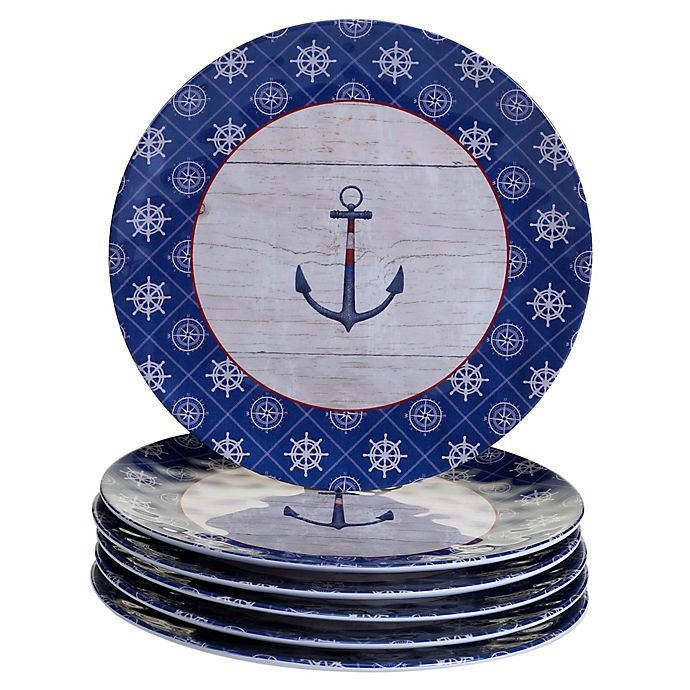 Alternate image 1 for Certified International Nautique Melamine Dinner Plates (Set of 6)