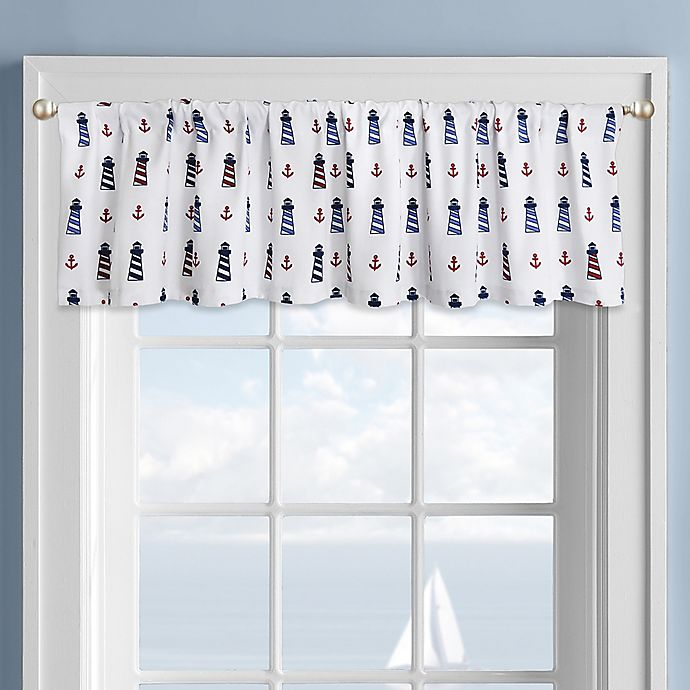 Alternate image 1 for Colordrift Lighthouse Rod Pocket Kitchen Window Valance in White
