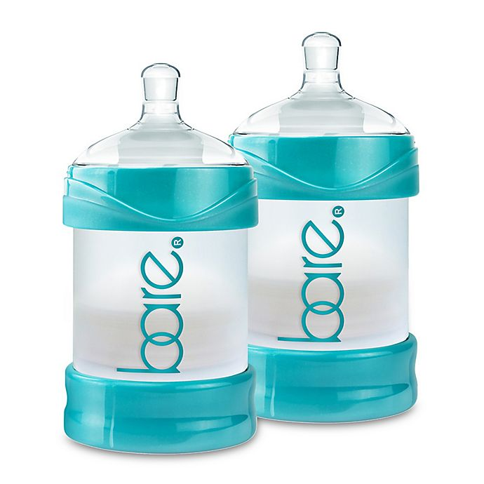 Alternate image 1 for BARE® 2-Pack Polypropylene 4 oz. Air-Free Bottles with Easy-Latch Nipples in Turquoise