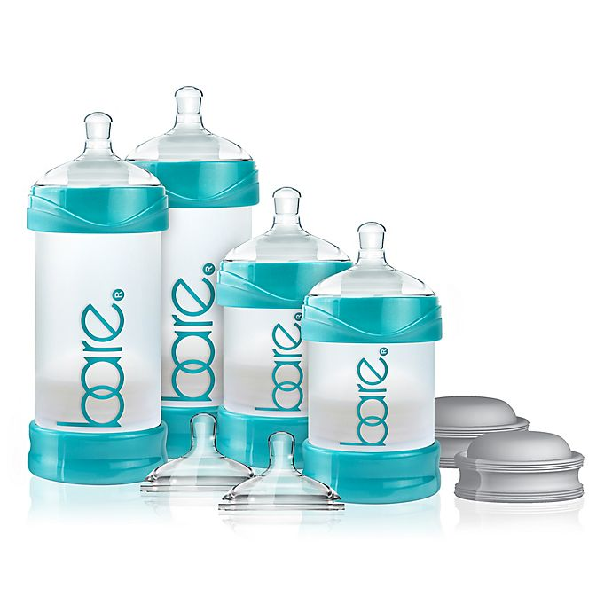 Alternate image 1 for BARE® 4-Pack Polypropylene Air-Free Bottle Starter Set with Easy-Latch Nipples in Turquoise
