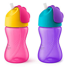 Philips Avent 2-Pack 10 oz. My Bendy Straw Cup in Pink/Purple