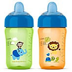 Philips Avent 2-Pack 12 oz. My Sip N Click Cups in Orange/Green
