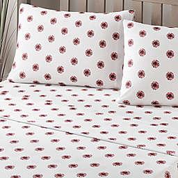 Brielle Fashion Cotton Jersey Pom-Pom Sheet Set in White