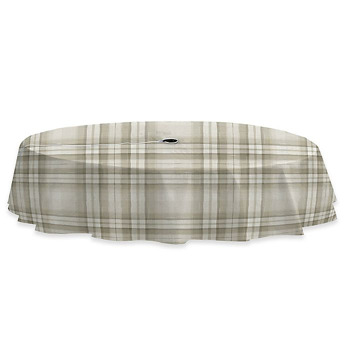 Alternate image 1 for Reeve Plaid 70-Inch Round Vinyl Tablecloth with Umbrella Hole in Grey