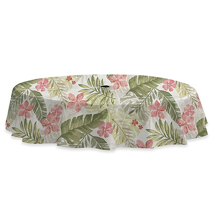 Alternate image 1 for Kona Tropics 70-Inch Round Stain Resistant Vinyl Tablecloth with Umbrella Hole