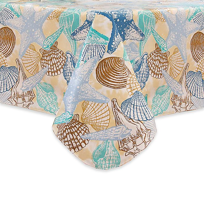 Alternate image 1 for Coastal Shell Stain Resistant Vinyl Tablecloth