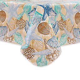 Coastal Shell Laminated Fabric Tablecloth in Blue