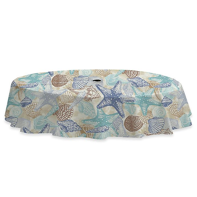 Alternate image 1 for Coastal Shell 60-Inch x 84-Inch Stain Resistant Vinyl Tablecloth with Umbrella Hole