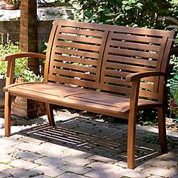 Outdoor Interiors® Eucalyptus Outdoor Luxe Bench in Brown Umber