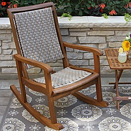 Outdoor Interiors® Eucalyptus and Wicker Outdoor Rocker