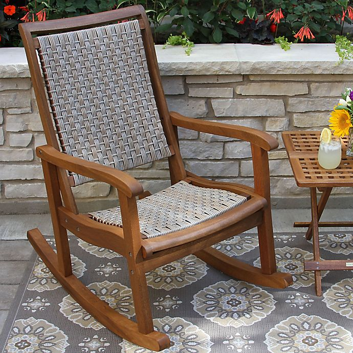 Alternate image 1 for Outdoor Interiors® Eucalyptus and Wicker Outdoor Rocker