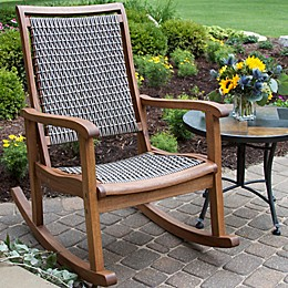 Outdoor Interiors® Eucalyptus and Wicker Outdoor Rocking Chair in Grey/Taupe