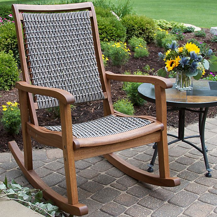 Alternate image 1 for Outdoor Interiors® Eucalyptus and Wicker Outdoor Rocking Chair in Grey/Taupe
