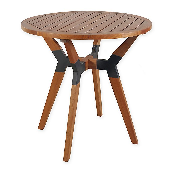 Alternate image 1 for Outdoor Interiors® Eucalyptus and Metal 30-Inch Outdoor Bistro Table in Brown Umber