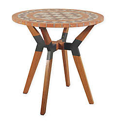 Outdoor Interiors® Terra Cotta Mosaic, Eucalyptus and Metal 30-Inch Outdoor Bistro Table
