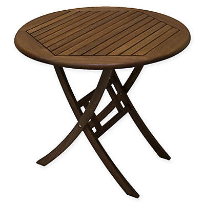 Outdoor Interiors® Eucalyptus 30-Inch Outdoor Folding Bistro Table in Brown Umber
