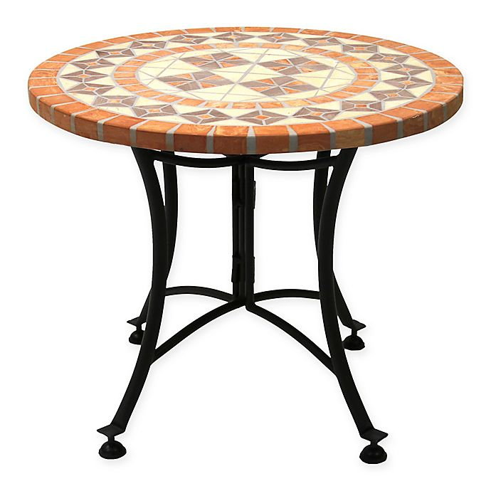 Alternate image 1 for Outdoor Interiors® 24-Inch Outdoor Terra Cotta Accent Table with Metal Base