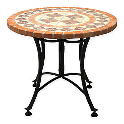 Outdoor Interiors® 24-Inch Outdoor Terra Cotta Accent Table with Metal Base