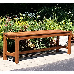 Outdoor Interiors® Eucalyptus Outdoor Backless Bench in Brown Umber