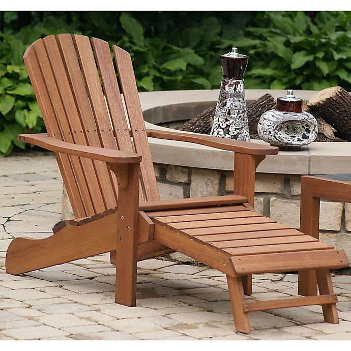 Outdoor Interiors Eucalyptus Adirondack Chair With Built In Ottoman Brown Umber