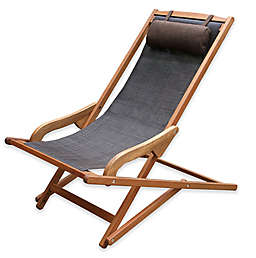 Outdoor Interiors® Eucalyptus and Sling Outdoor Swing Lounger with Pillow in Brown Umber