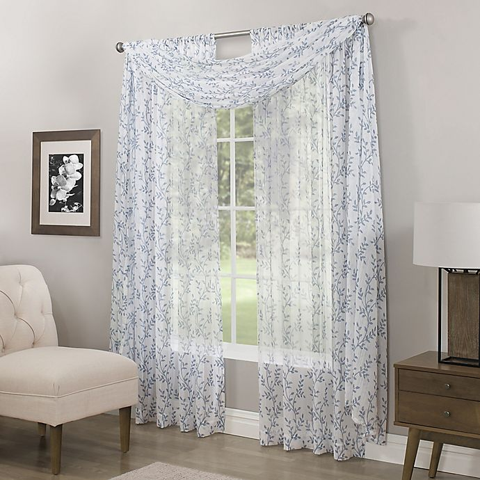 Alternate image 1 for Somerset Printed Crushed Sheer Rod Pocket Window Curtain Panel and Scarf Valance
